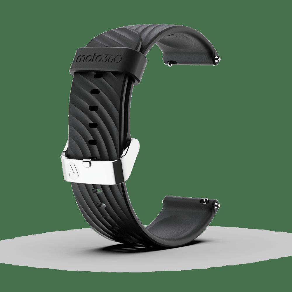 Moto 360 - Bracelet en silicone à impact élevé, noir avec boucle couleur argent