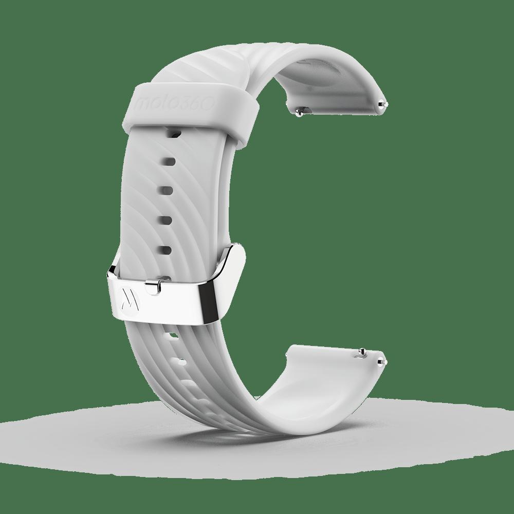 Moto 360 - Bracelet en silicone à impact élevé, blanc avec boucle couleur argent