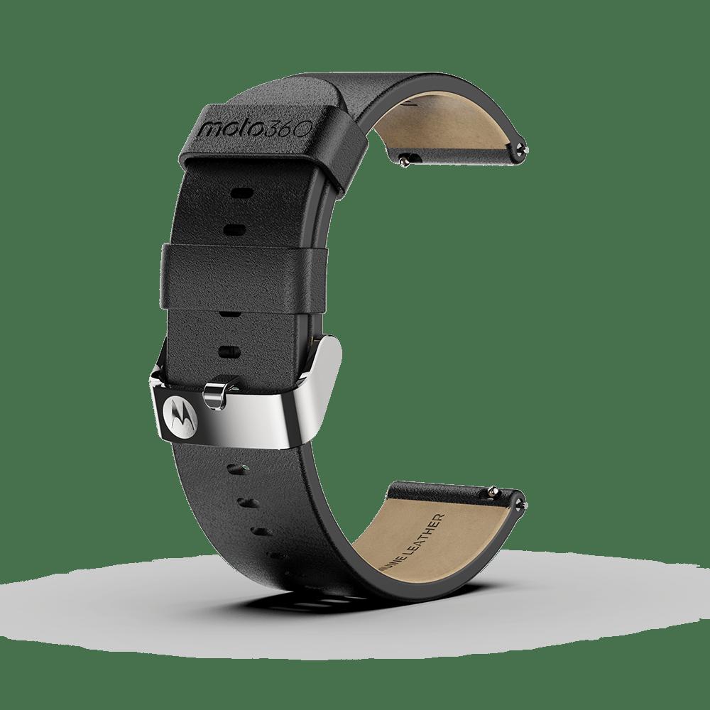 Moto 360 - Bracelet en cuir premium, noir avec boucle couleur argent