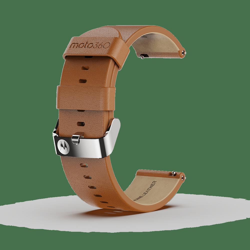 Moto 360 - Bracelet en cuir premium, couleur cognac avec boucle couleur argent