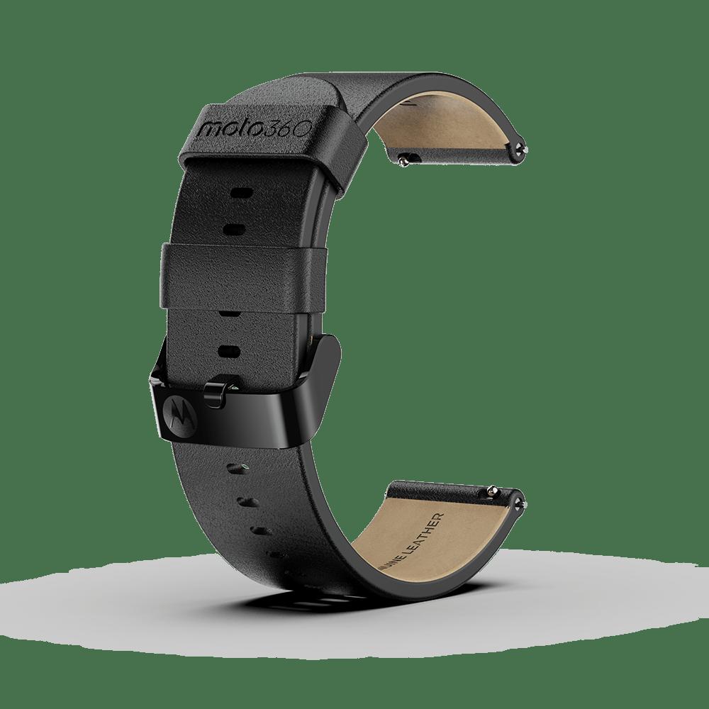 Moto 360 - Bracelet en cuir premium, noir avec boucle noire